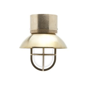 Kaj loft brass E27 removable shade ceiling mount opacue glass