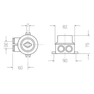 Marine switch - 2-pole standard - 2 outlets (O=)