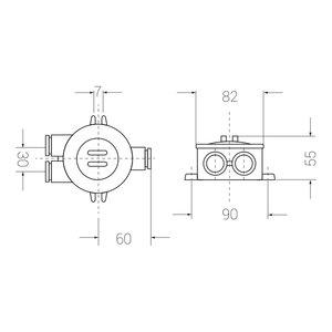 Junction box - 4-pol plint - 2 outlets (O=)